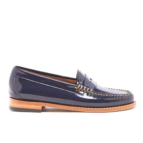 navy patent loafers bass weejuns s wheel patent leather loafers