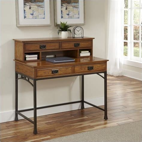 Distressed Desk With Hutch Bowery Hill Computer Desk With Hutch In Distressed Oak Bh 489378