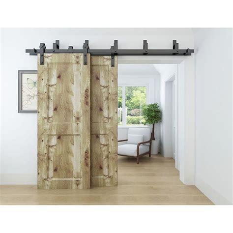 Rustic bypass sliding barn door hardware track double doors interior closet kit
