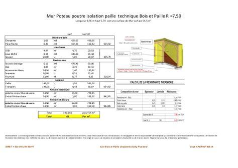 Prix M2 Mur Ossature Bois by Etude Comparative Mur Technique Bois Et Paille Et Mur