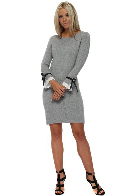 Midi Jumper Dress grey jumper dress with white pleated cuffs