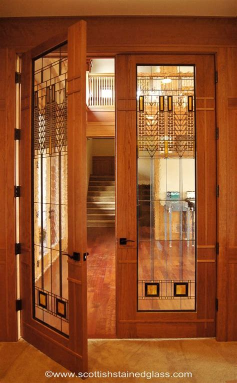 Wright Door by Beautiful Frank Lloyd Wright Style Stained Glass Door