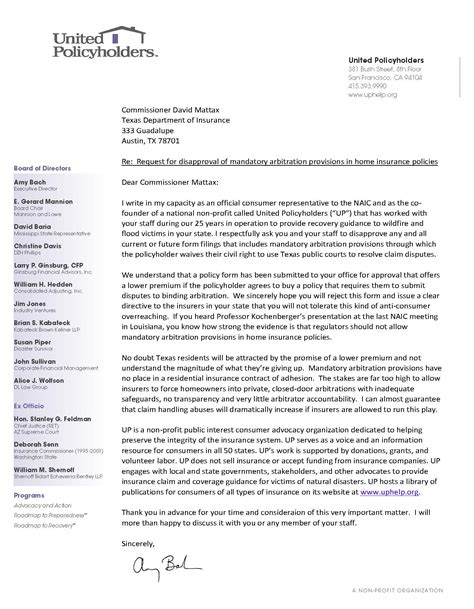 Hazard Insurance Letters united policyholders weighs in on mandatory arbitration shenanigans at department of