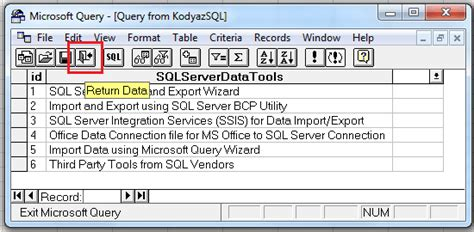 unrecognized database format excel query import data from sql server into excel