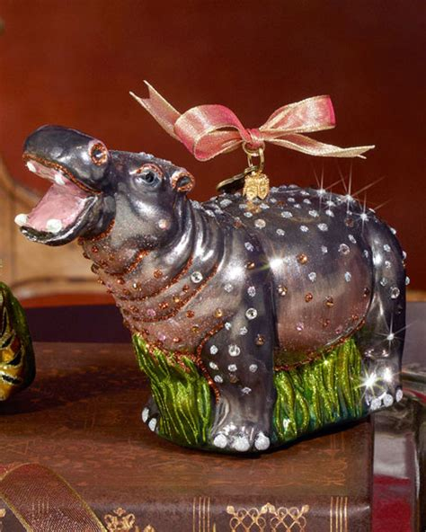jay strongwater hippo christmas ornament