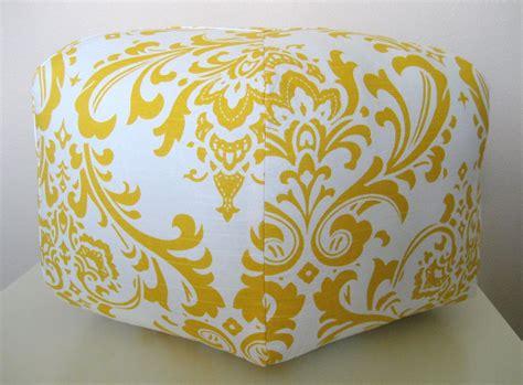 yellow pattern ottoman 18 quot ottoman pouf floor pillow yellow white damask 85 00