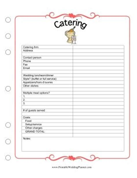 Catering Spreadsheet by Catering The Wedding Planner And Wedding Planners On