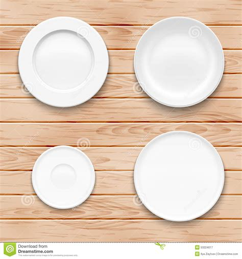 Kitchen Plate Sets by White Plate Set On Wooden Background Kitchen Stock Vector