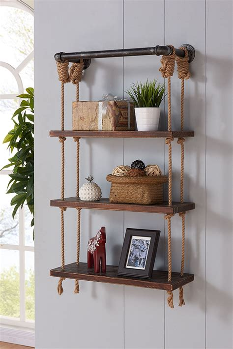 brannon 24 quot gray walnut wood floating wall shelf from