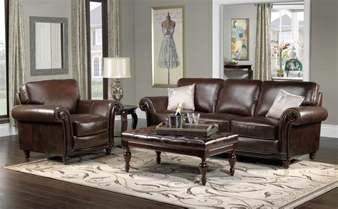 brown sofa in living room color schemes for living rooms with brown leather furniture and hardwood floors enchanting