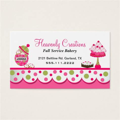 sweet bakery packaging design template white business card paper pink and green bakery business card zazzle