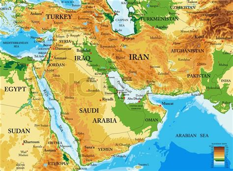 physical middle east map the physical map of middle east images