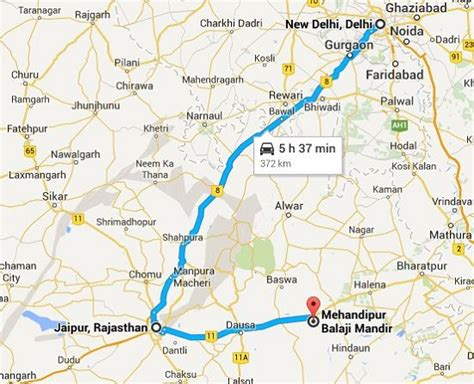 Delhi-Mehandipur Balaji Route Guide