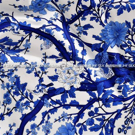 blue and white fabrics upholstery free siping mulberry silk elastic satin fabric clothes
