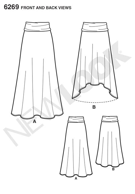 pattern review best patterns 2014 new look 6269 misses knit skirt in two lengths