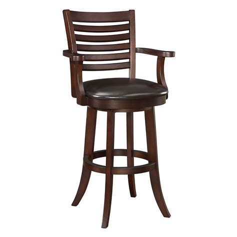 wooden bar stools with backs that swivel furniture counter height swivel stool with arm and black