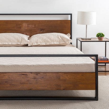 Wood And Metal Headboard And Footboard Zinus Ironline Metal And Wood Platform Bed With Headboard And Footboard Walmart Canada
