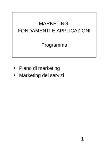 dispense di marketing piano di marketing dispense
