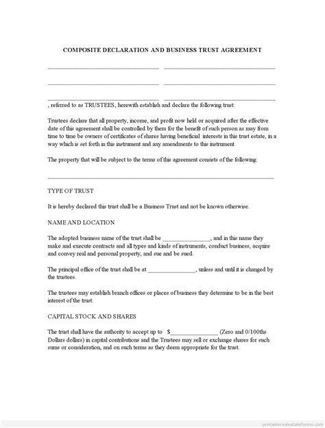 Free Sle Business Trust Agreement Form Template Land Trust Agreement Template