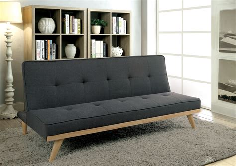 new futons furniture of america 2441gy gray mid century modern futon