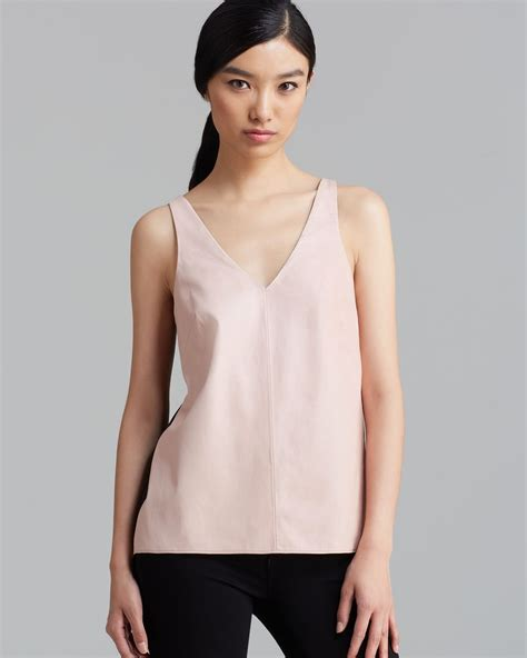 Glow Silk Vneck Top tibi tank top leather and silk easy vneck in pink pale blush lyst