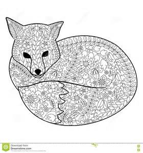 fox coloring book for adults vector stock vector image