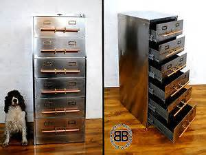 Upcycled Metal Filing Cabinet Upcycled Vintage Industrial Chic Stripped Polished Filing Cabinet Metal Ebay