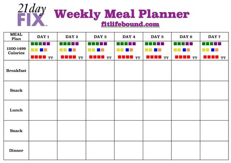 blank meal plan for 21 day fix 21 day fix weekly meal plan fit life bound