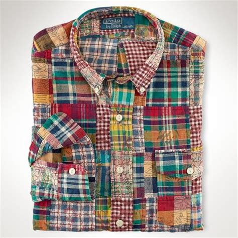 polo ralph custom patchwork madras shirt in