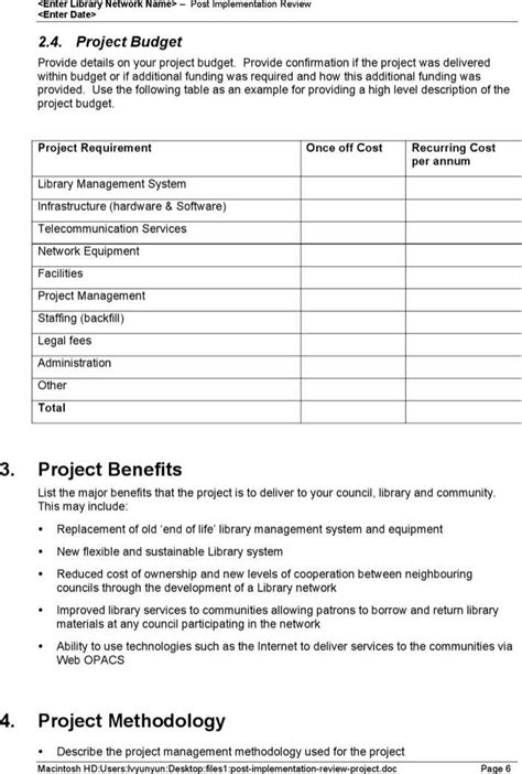 post implementation review project download free