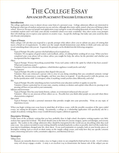 Great College Essays Exles by Writing College Admission Essay Sle