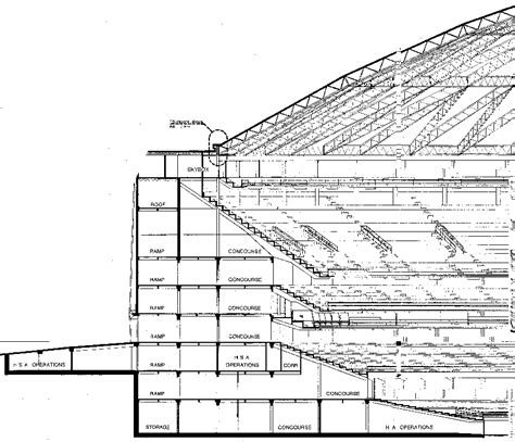section of a building astrodome construction documents