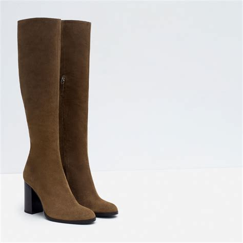 high heel leather boot zara high heel leather boots in brown lyst