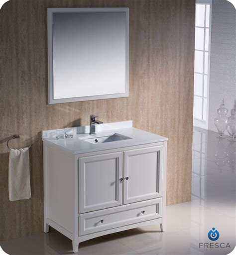 36 Quot Fresca Oxford Fvn2036aw Traditional Bathroom Vanity Bathroom Vanities Antique White