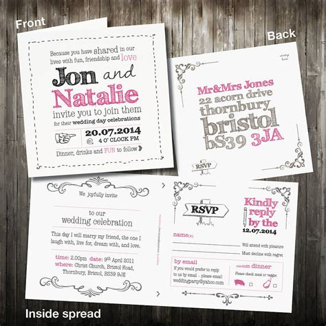 Wedding Invitation With Rsvp by Personalised Sketch Wedding Invitation With Rsvp By Violet
