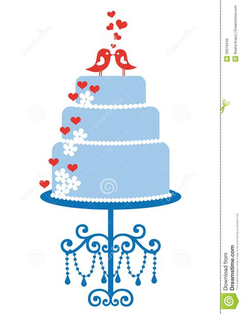 wedding cake with birds vector royalty free stock image
