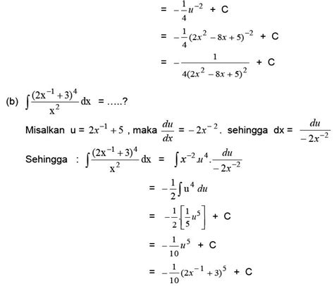 menghitung integral  aturan substitusi materi