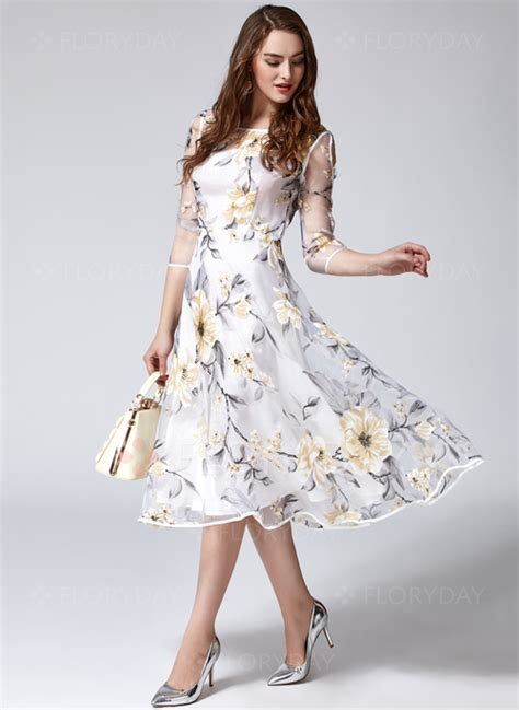 3 4 Sleeve Midi A Line Dress floral 3 4 sleeves midi a line dress floryday