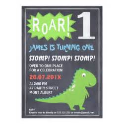 boys dinosaur chalkboard 1st birthday invitation zazzle