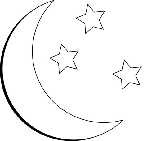 moon and stars outline clip art at clker com vector clip