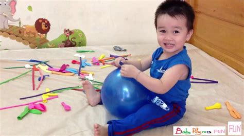 babies jumping on the bed baby learn colors tantrum balloons baby jumping on the bed