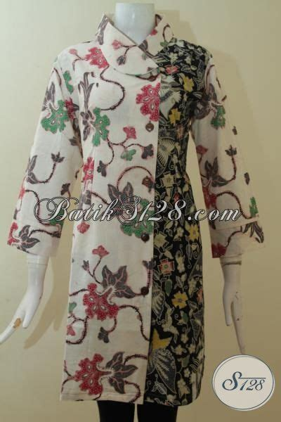 Dress Charlote Hitam Bahan Twistcone Kombi Katun Batik Asli Sleti dress batik berpadu warna hitam keren baju batik premium kombinasi tulis dual motif