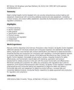 Call Center Quality Analyst Sle Resume by Quality Assurance Resume Sles Free Sle Resumes Sle