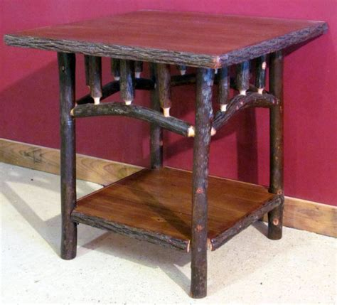 Log Side Table Hickory Log Side Table Square Fashioned Hickory Side