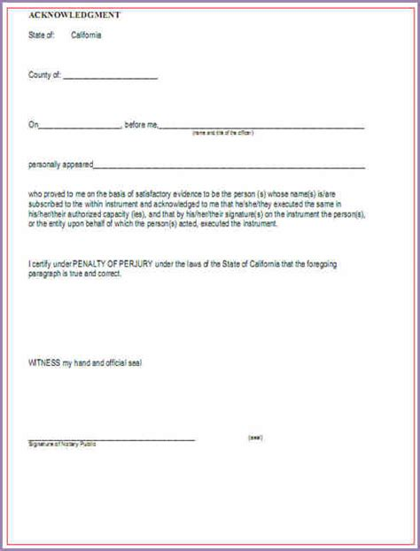 notary form template notary sle forms slenotary