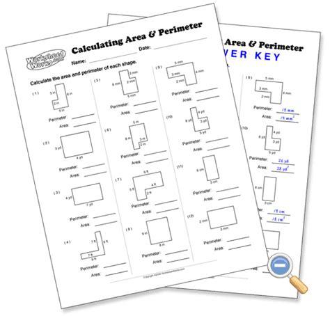 calculating area perimeter worksheetworks area
