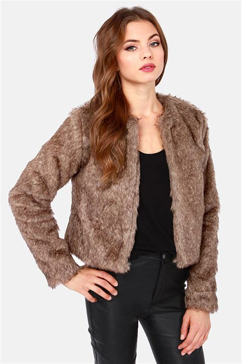 Cropped Fur Jackets by Faux Fur Jacket Cropped Jacket Taupe Jacket 84 00