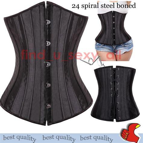 Pyjama Anak Cn Cloud black trim corset basque top bustier waist trainer steel boned plus