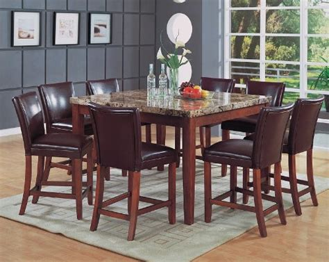 buy 9pc cappuccino wood counter height dining table 8