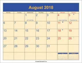 Kalender Augusti 2018 August 2018 Calendar Printable With Holidays Pdf And Jpg